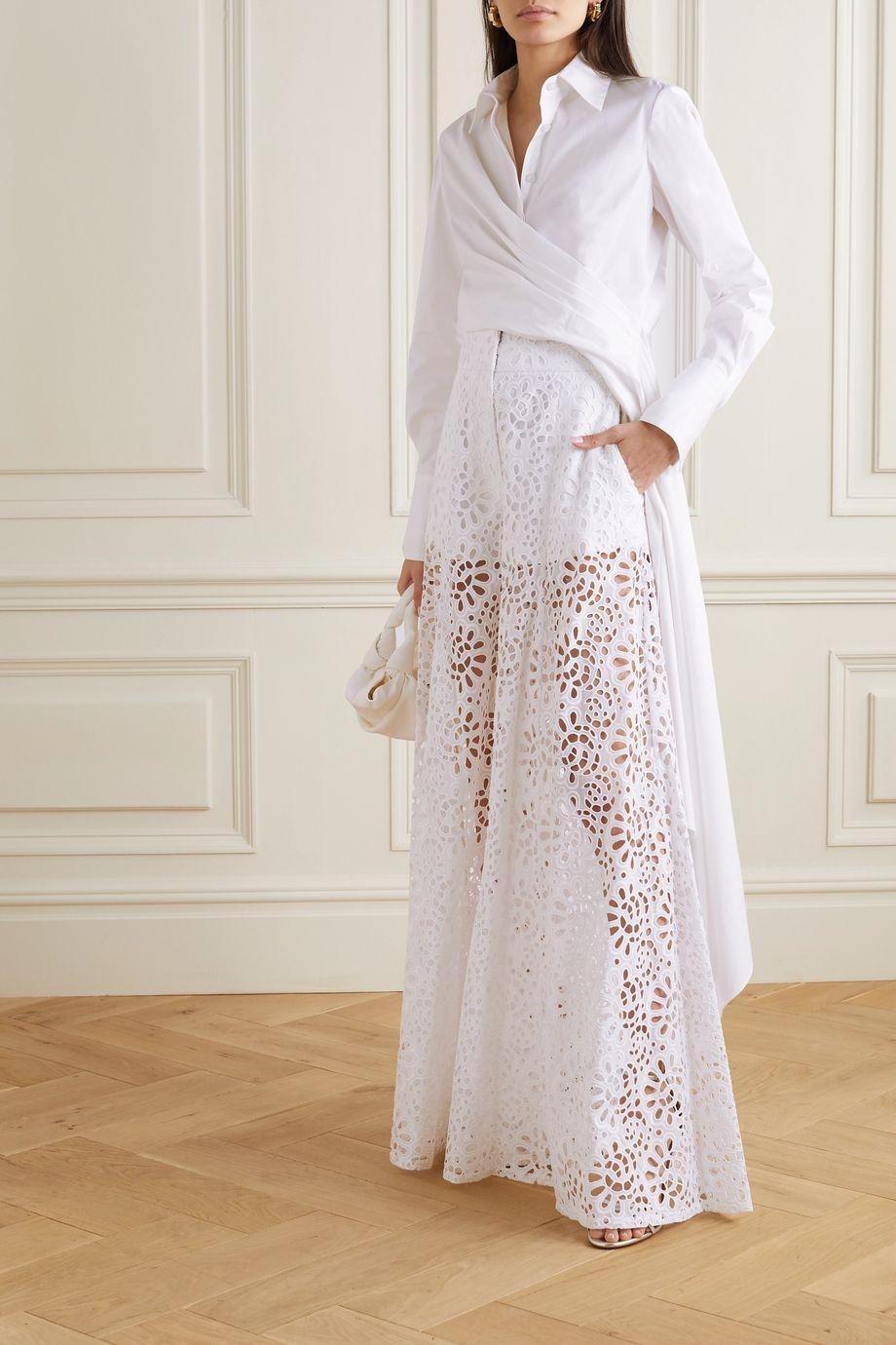 Carolina Herrera Broderie anglaise cotton wide-leg pants