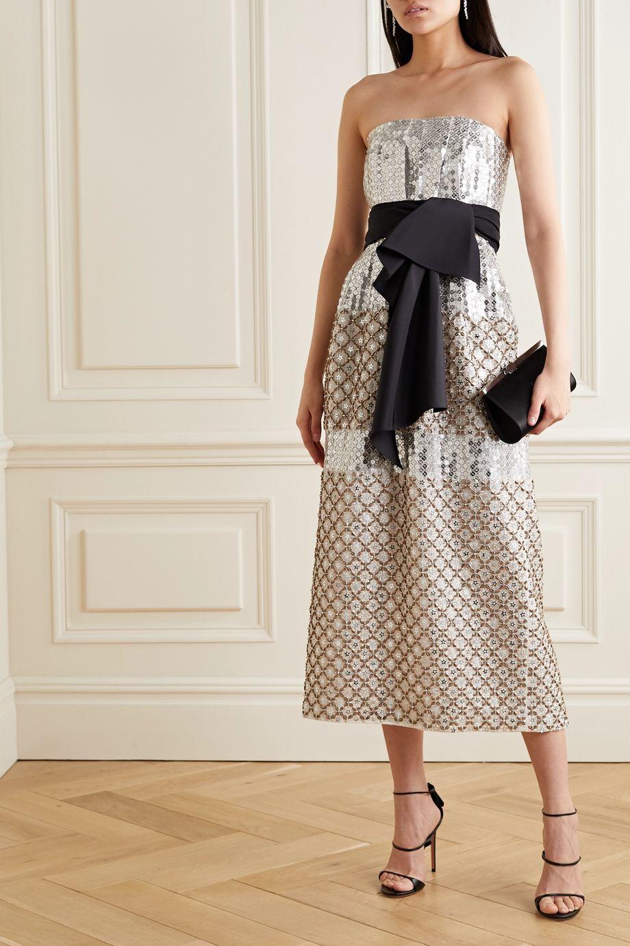 Carolina Herrera Bow-detailed embellished silk midi dress
