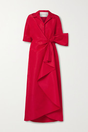 Wrap-effect bow-embellished draped silk-faille gown