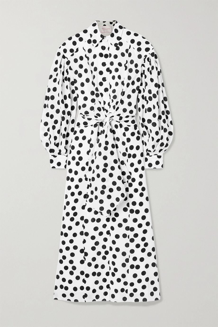 Carolina Herrera Polka-dot crepe midi dress
