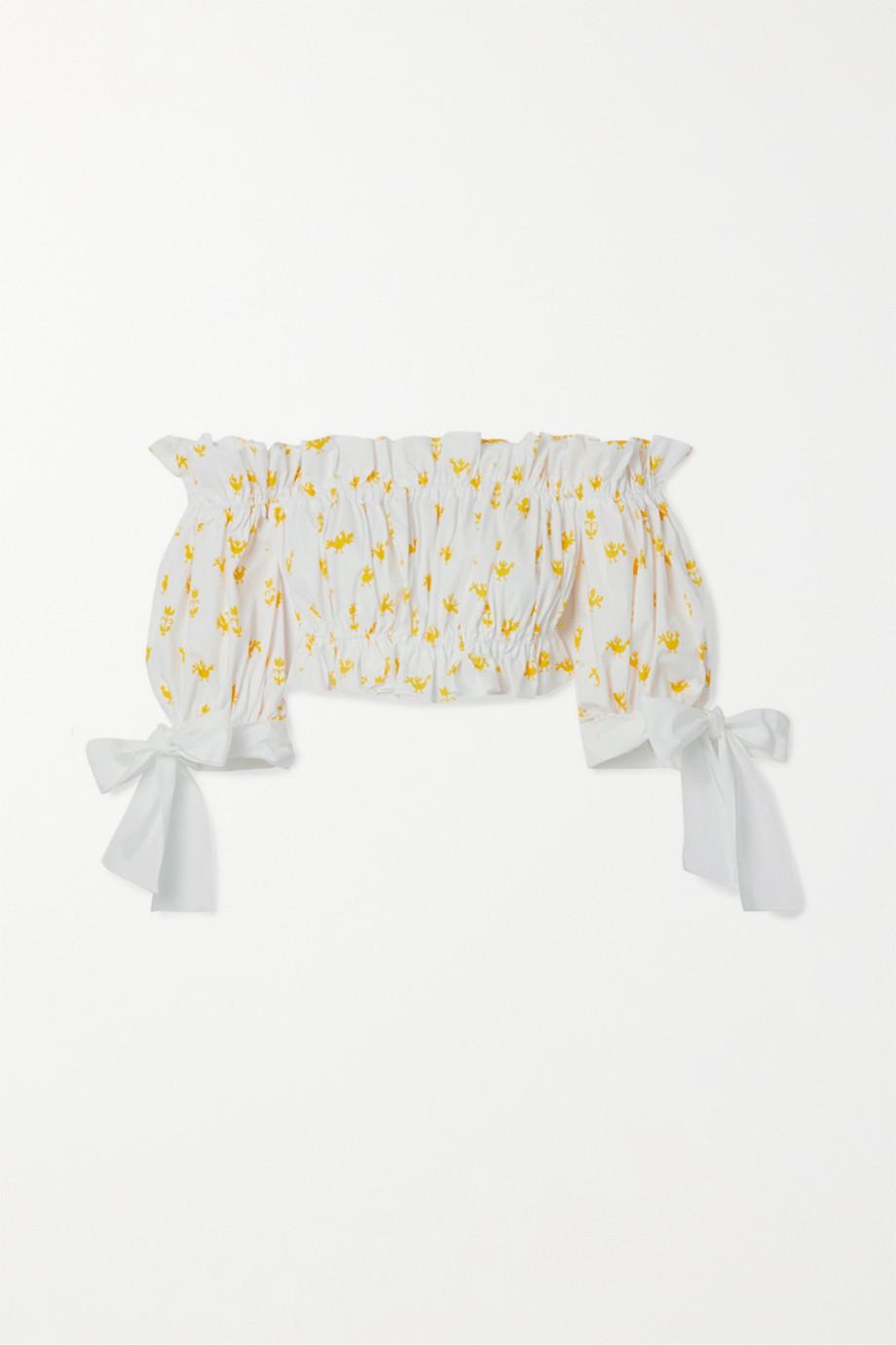 Carolina Herrera Cropped ruffled printed stretch-cotton poplin top