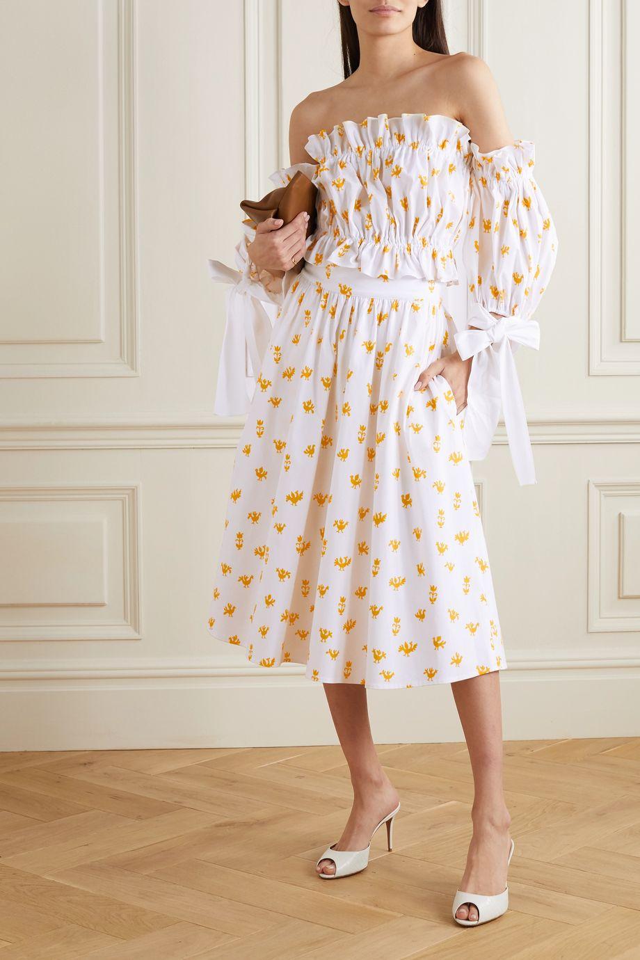 Carolina Herrera Printed stretch-cotton poplin midi skirt