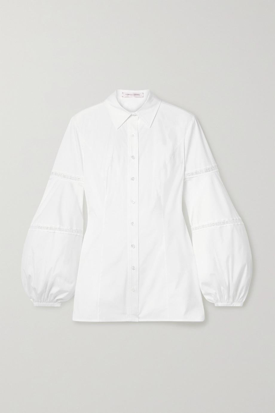 Carolina Herrera Embroidered tulle-trimmed cotton-blend poplin shirt