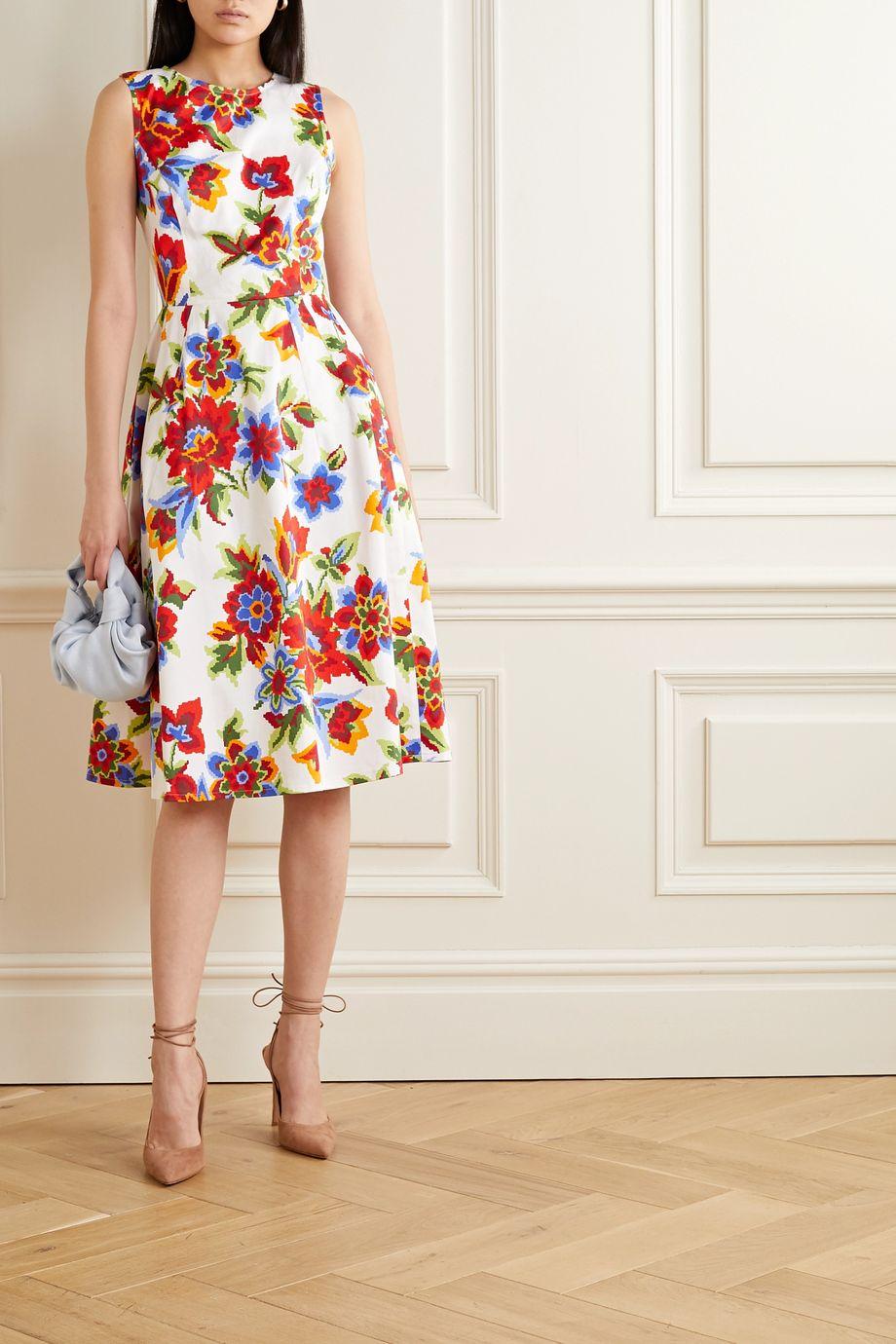 Carolina Herrera Floral-print cotton-blend poplin dress