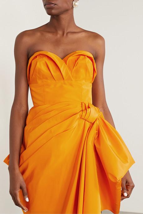 Strapless gathered silk-faille mini dress
