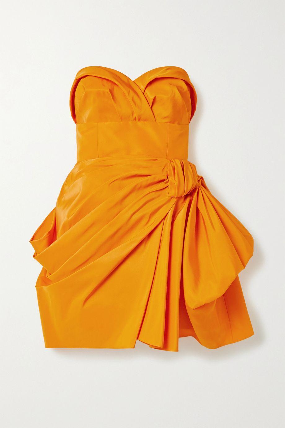 Carolina Herrera Strapless gathered silk-faille mini dress