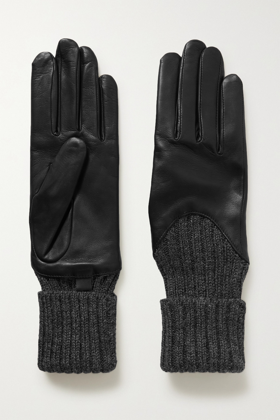 Agnelle Cecilia leather and ribbed alpaca gloves