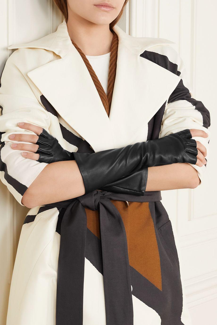 Agnelle Celia leather fingerless gloves