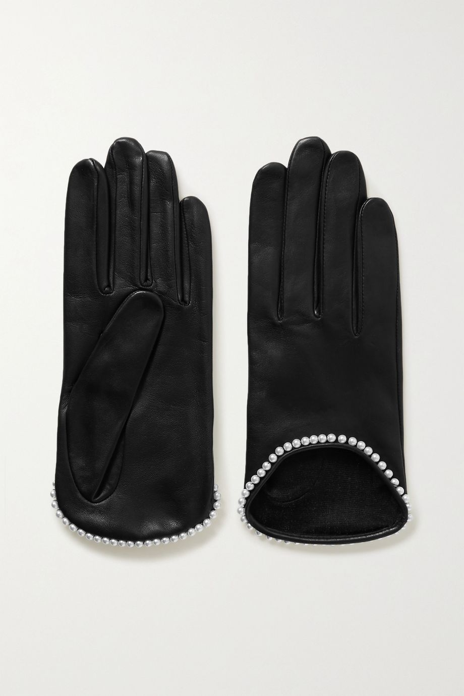 Agnelle Sofia faux pearl-embellished leather gloves