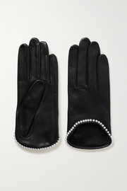 Sofia faux pearl-embellished leather gloves