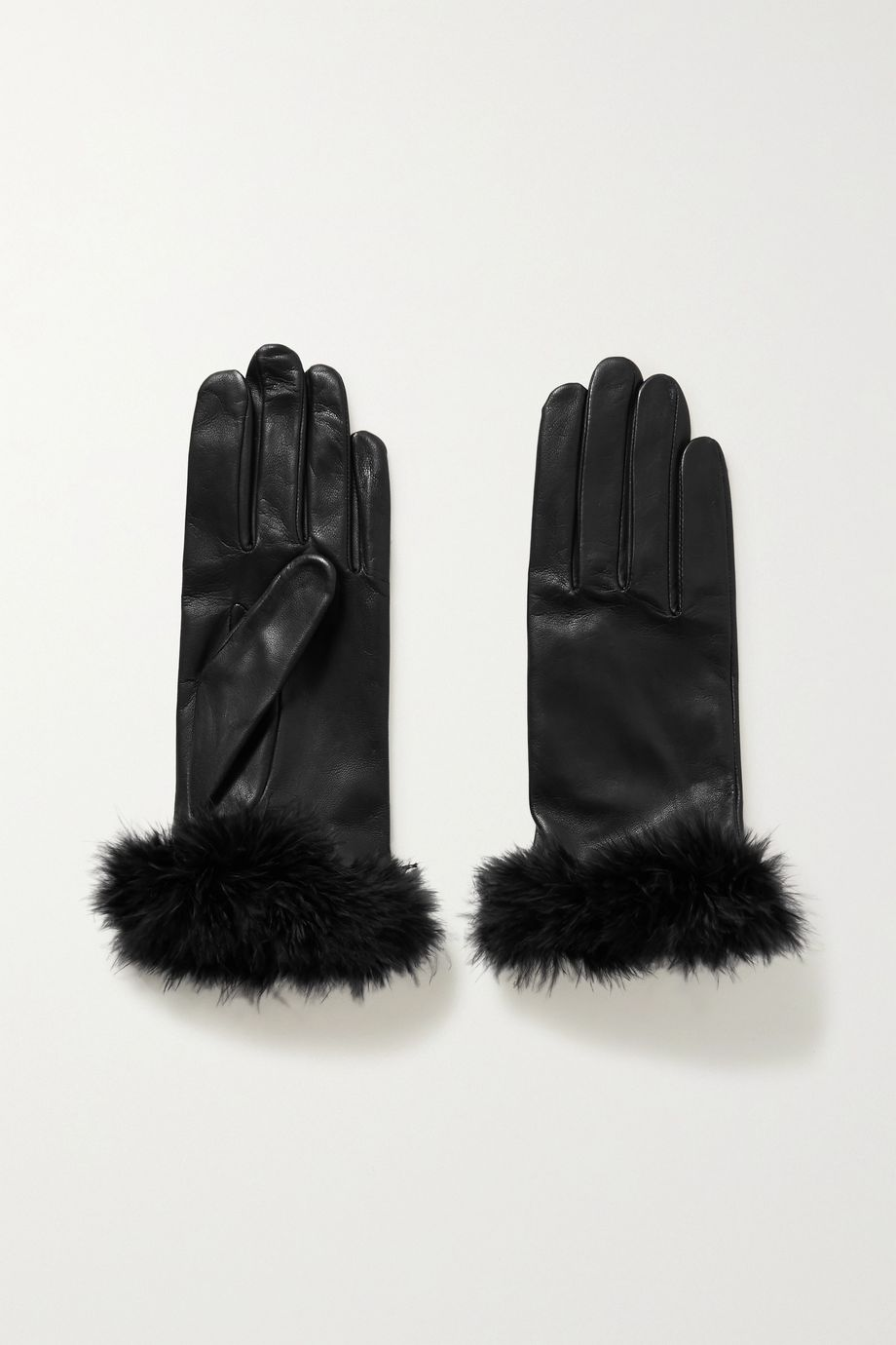 Agnelle Boa feather-trimmed leather gloves