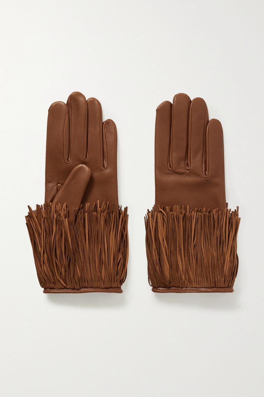 Agnelle Lena fringed leather gloves