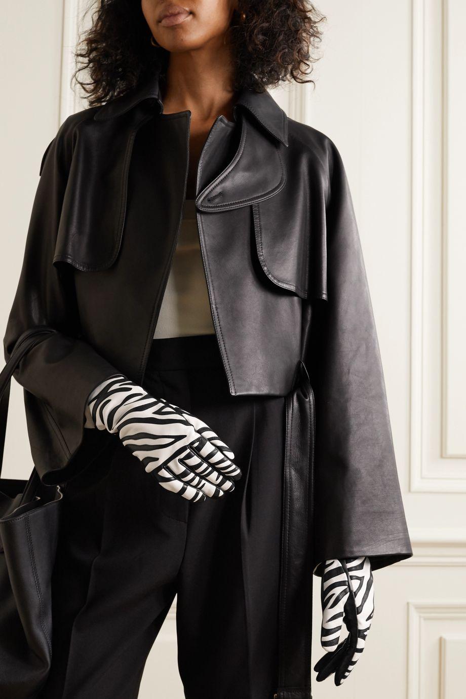 Agnelle Yara appliquéd leather gloves