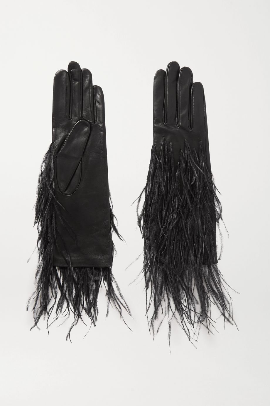 Agnelle Feather-trimmed leather gloves