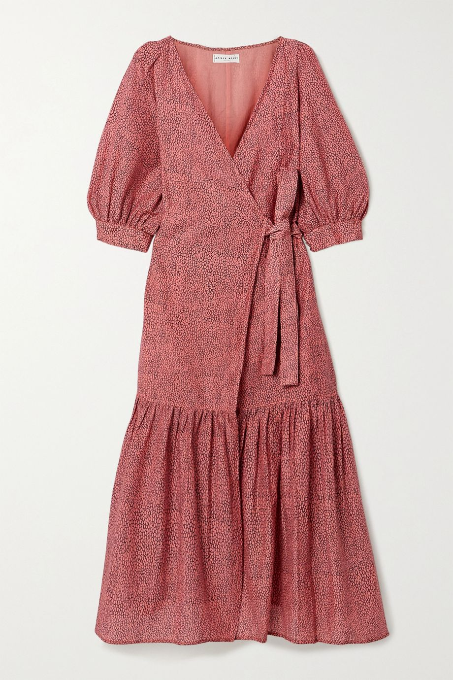 APIECE APART Bougainvillea printed cotton and silk-blend voile wrap dress