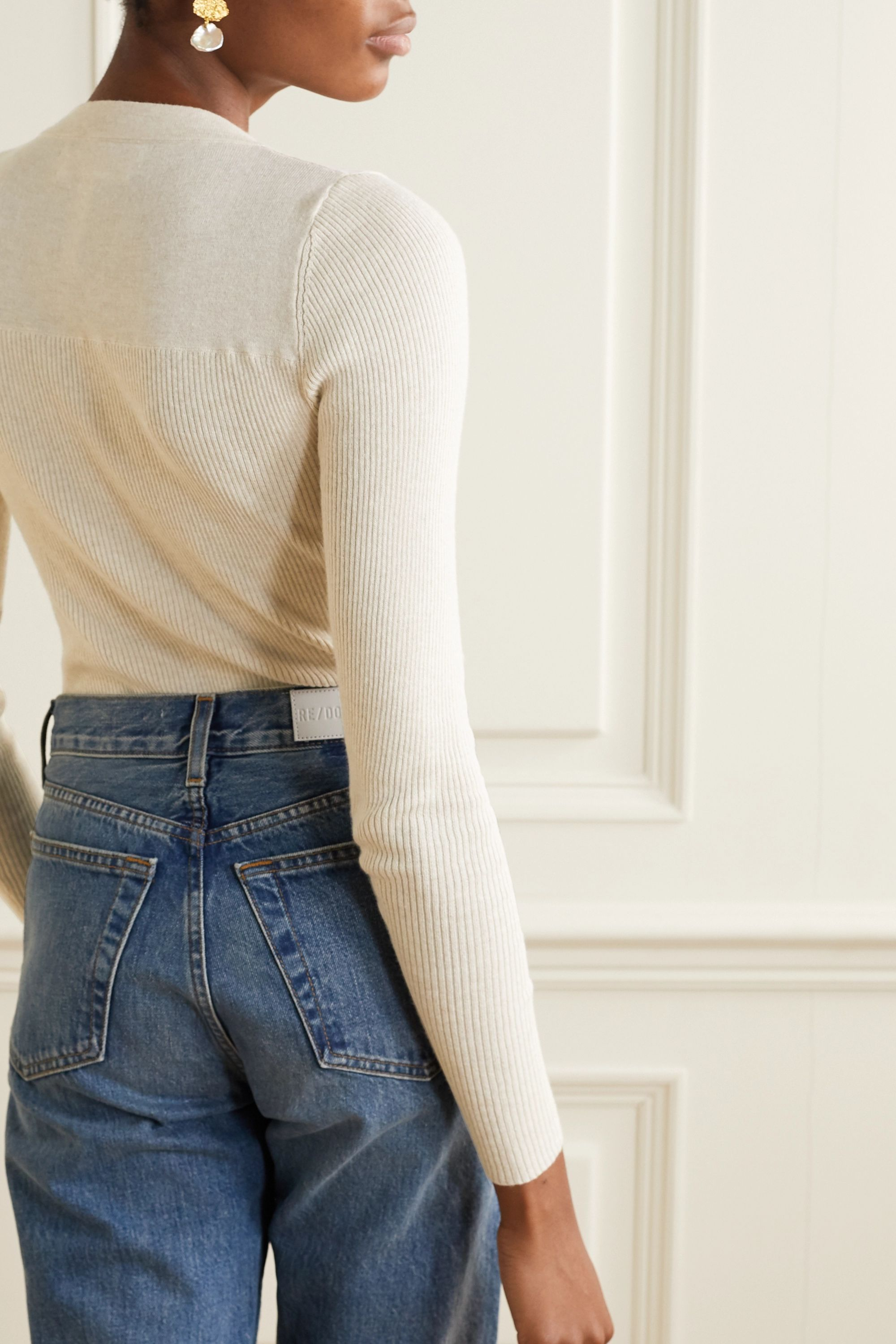 Rio ribbed cotton and cashmere blend sweater