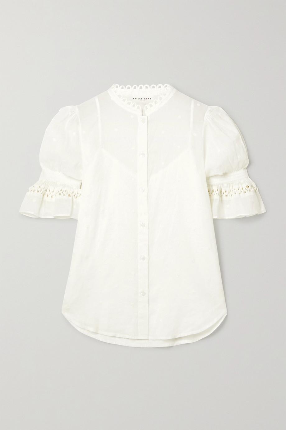 APIECE APART Menina crochet-trimmed ruffled embroidered cotton-voile shirt