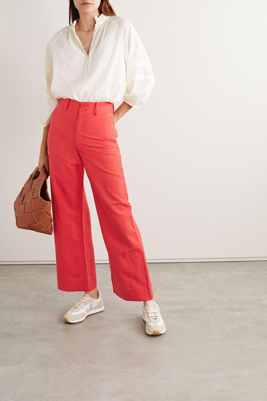 APIECE APART Merida linen and cotton-blend twill wide-leg pants