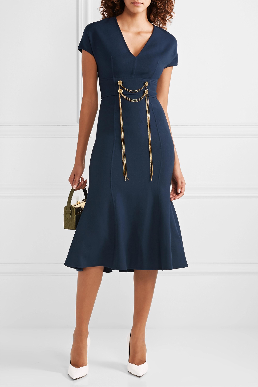 Oscar de la Renta Embellished wool-blend midi dress