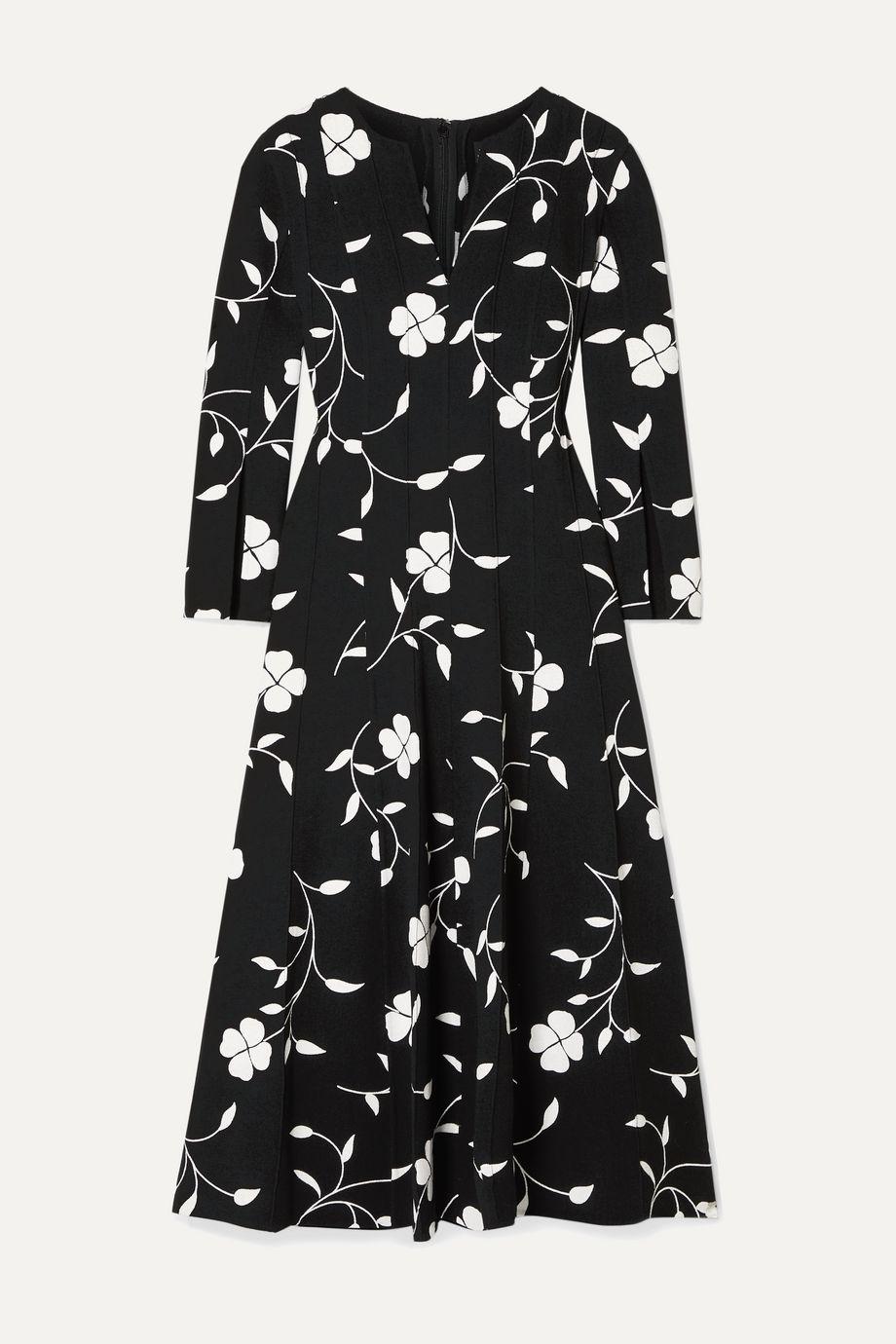 Oscar de la Renta Pleated floral-print wool-blend crepe midi dress