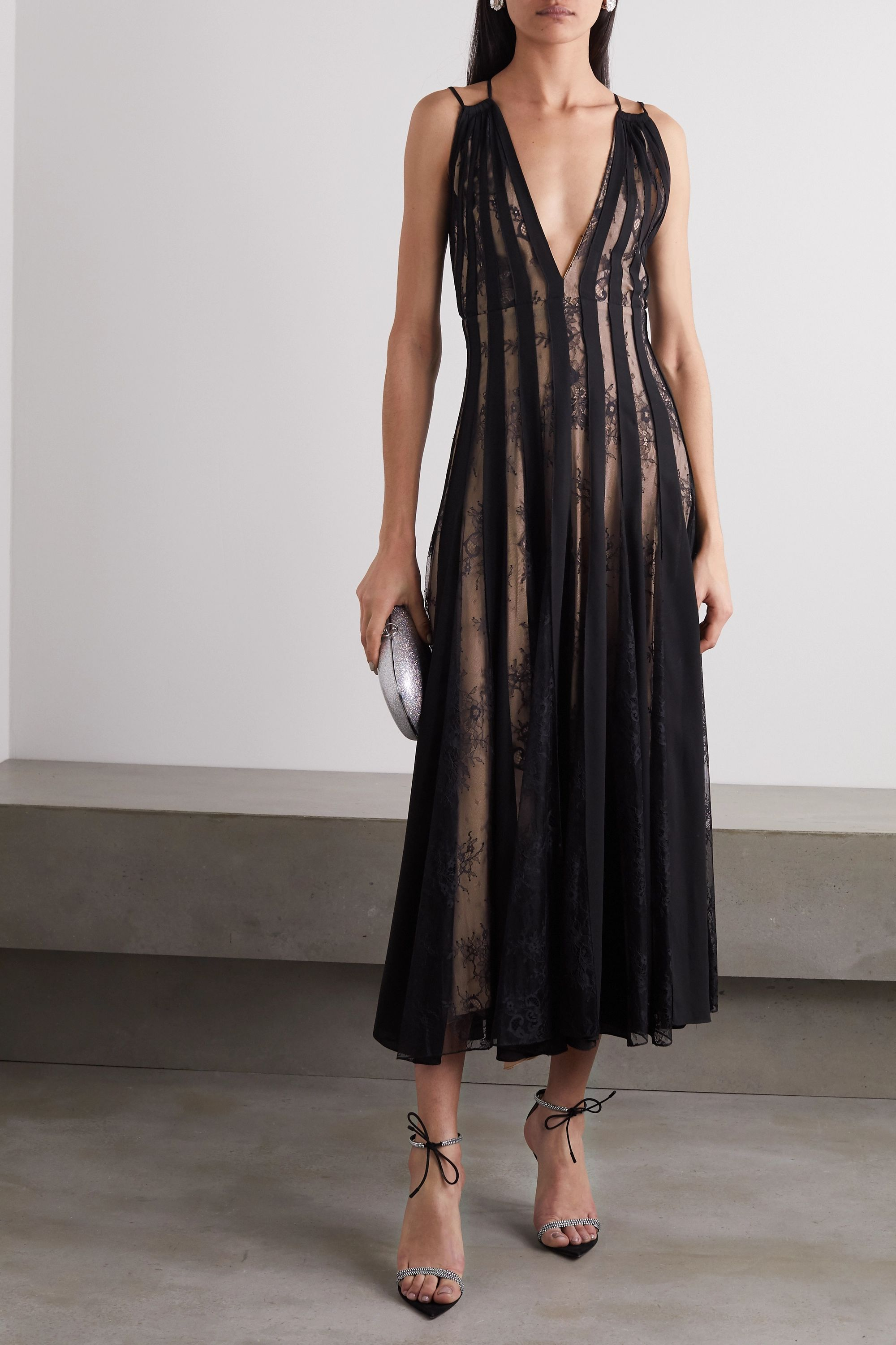 Oscar de la Renta Tulle and lace-paneled pleated silk-voile midi dress