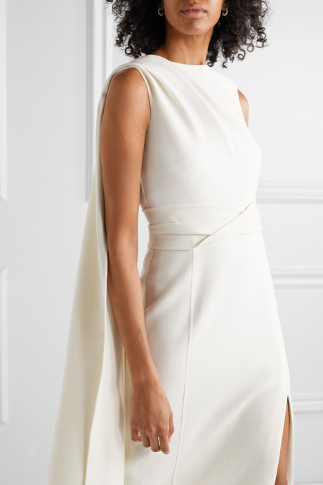 Draped wool-blend dress