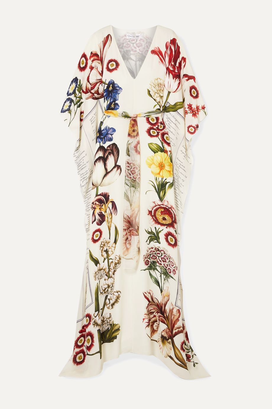 Oscar de la Renta Belted printed silk-chiffon gown