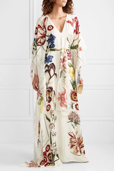 Belted Printed Silk Chiffon Gown by Oscar De La Renta