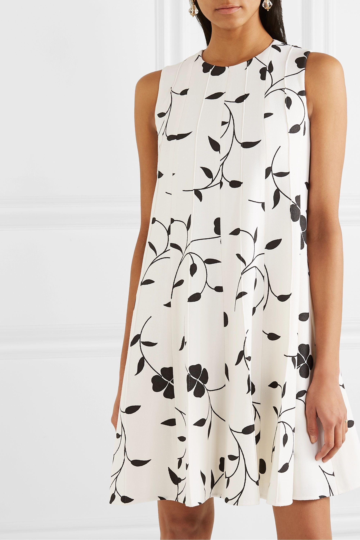 Oscar de la Renta Pleated floral-print grain de poudre wool-blend mini dress