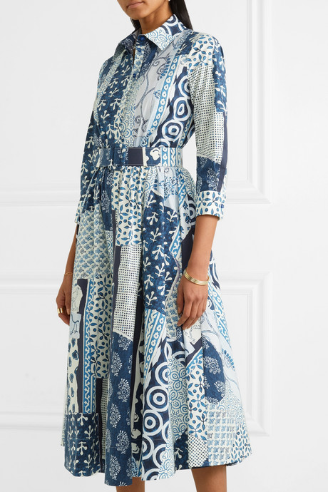 Belted patchwork printed woven midi dress