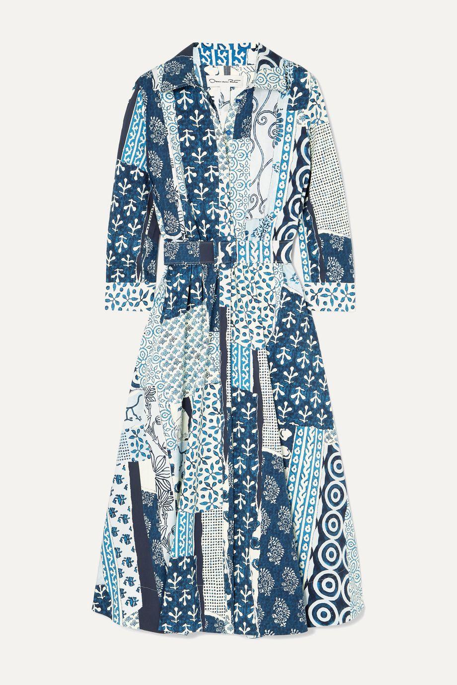 Oscar de la Renta Belted patchwork printed woven midi dress