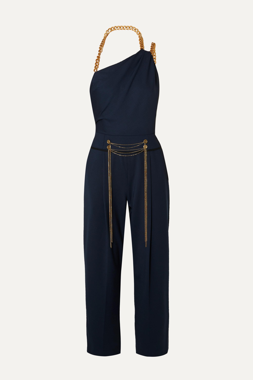 Oscar de la Renta Embellished one-shoulder wool-blend twill jumpsuit