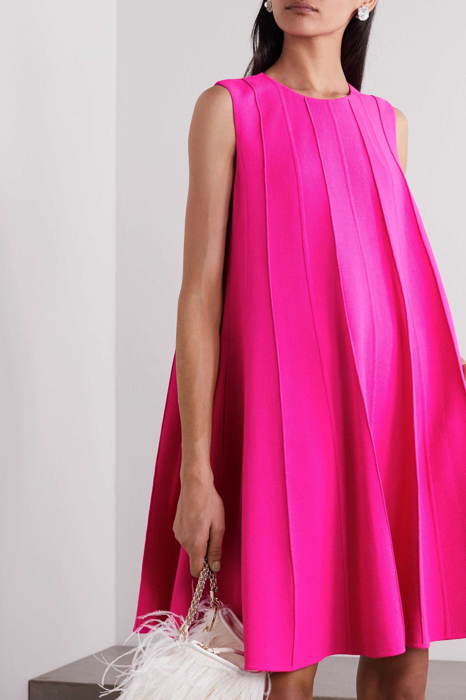 Oscar de la Renta Neon pleated wool-blend crepe mini dress