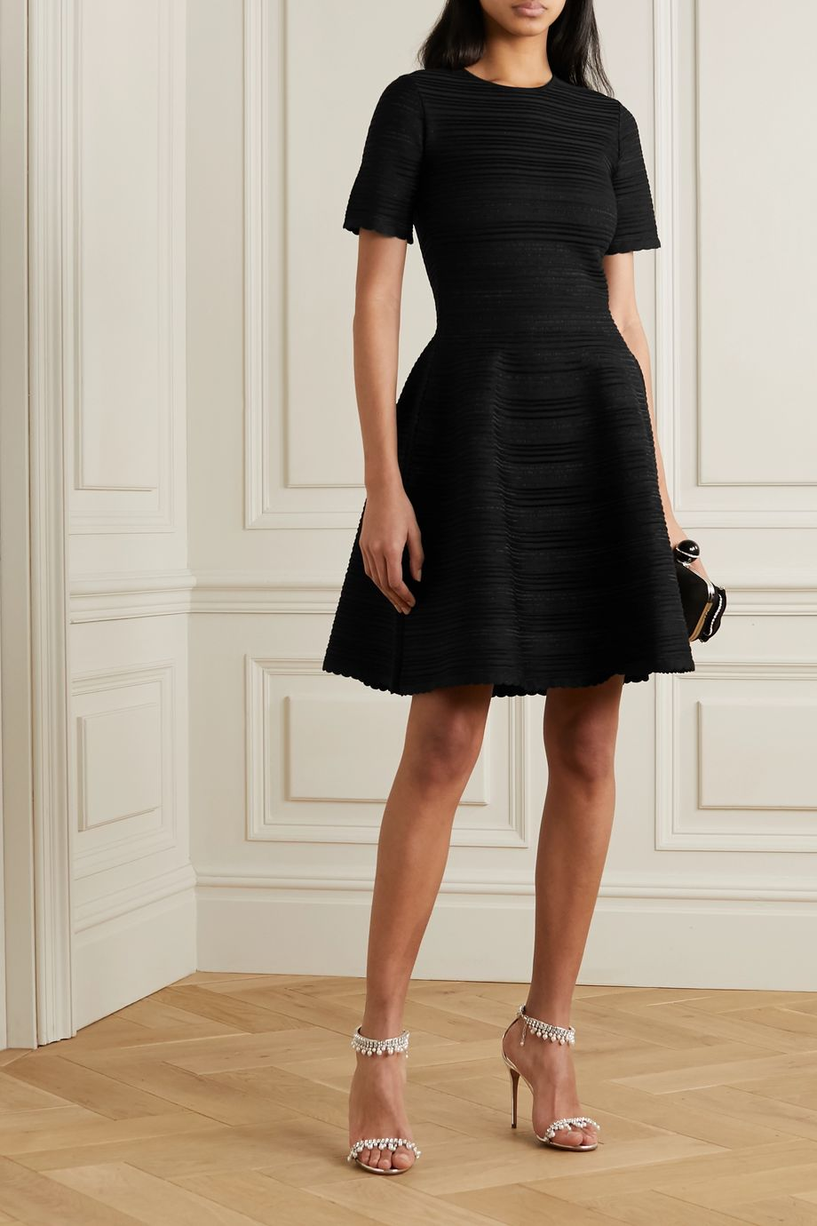 Oscar de la Renta Scalloped ribbed silk-blend mini dress