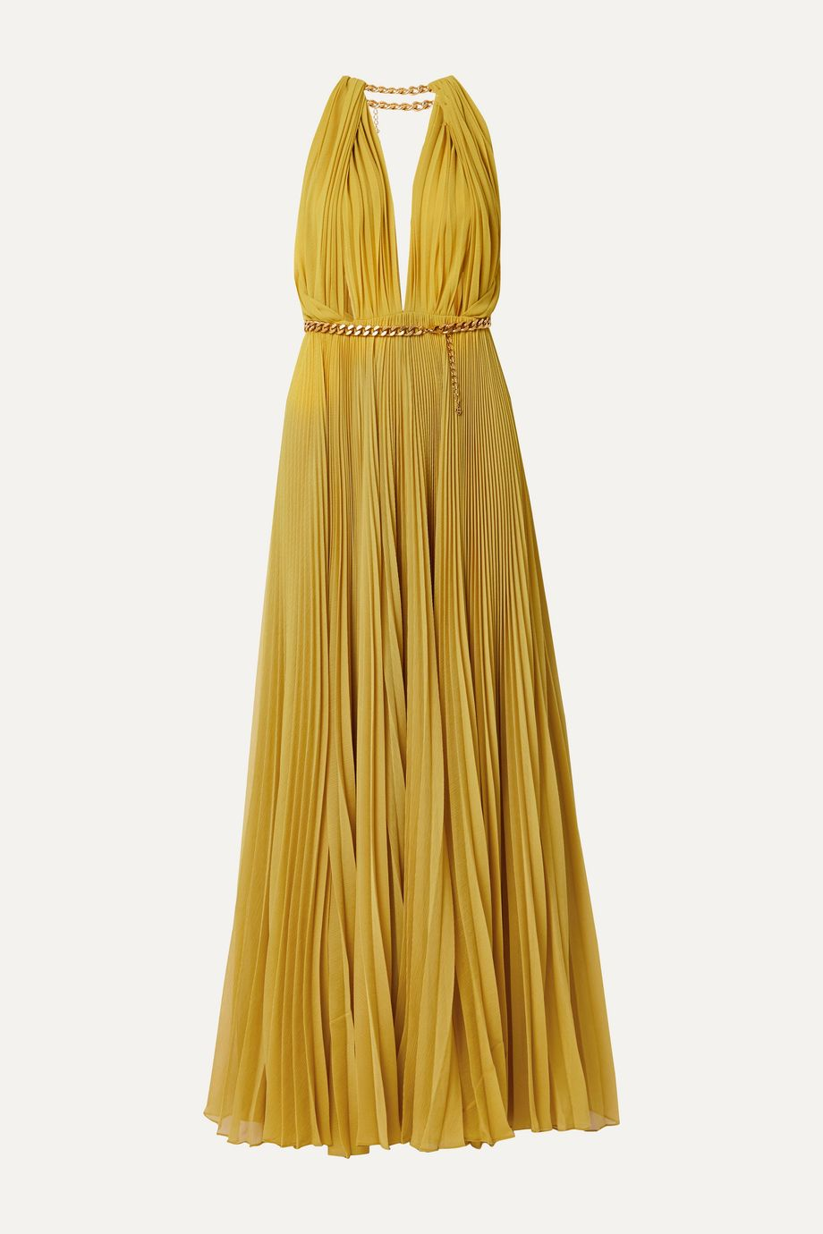 Oscar de la Renta Chain-embellished pleated silk-chiffon gown