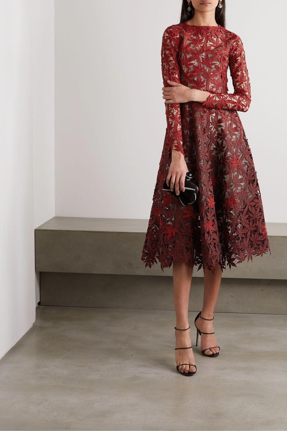 Oscar de la Renta Dégradé guipure lace midi dress