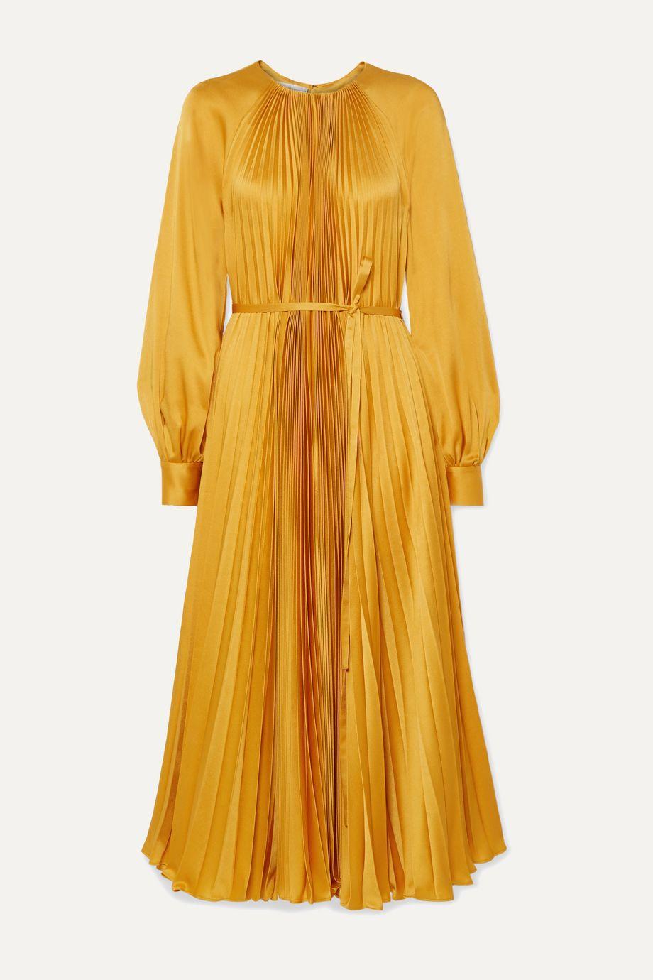 Oscar de la Renta Pleated satin-crepe midi dress