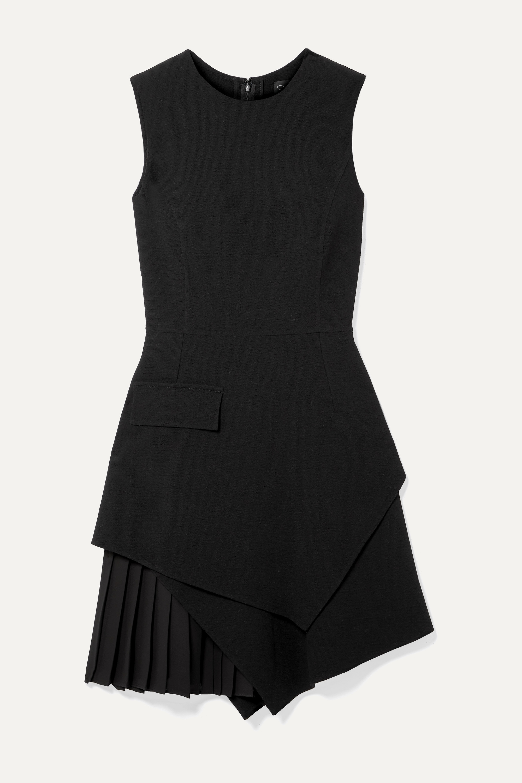 Oscar de la Renta Layered pleated grain de poudre wool-blend mini dress