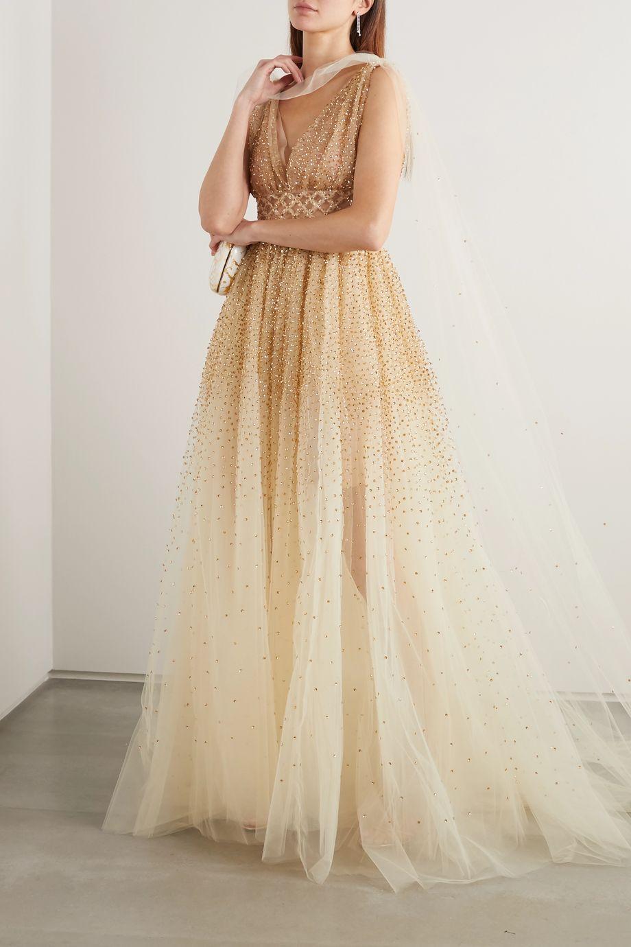 Oscar de la Renta Cape-effect sequin-embellished tulle gown