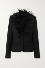 Oscar de la Renta Feather-trimmed wool-blend blazer