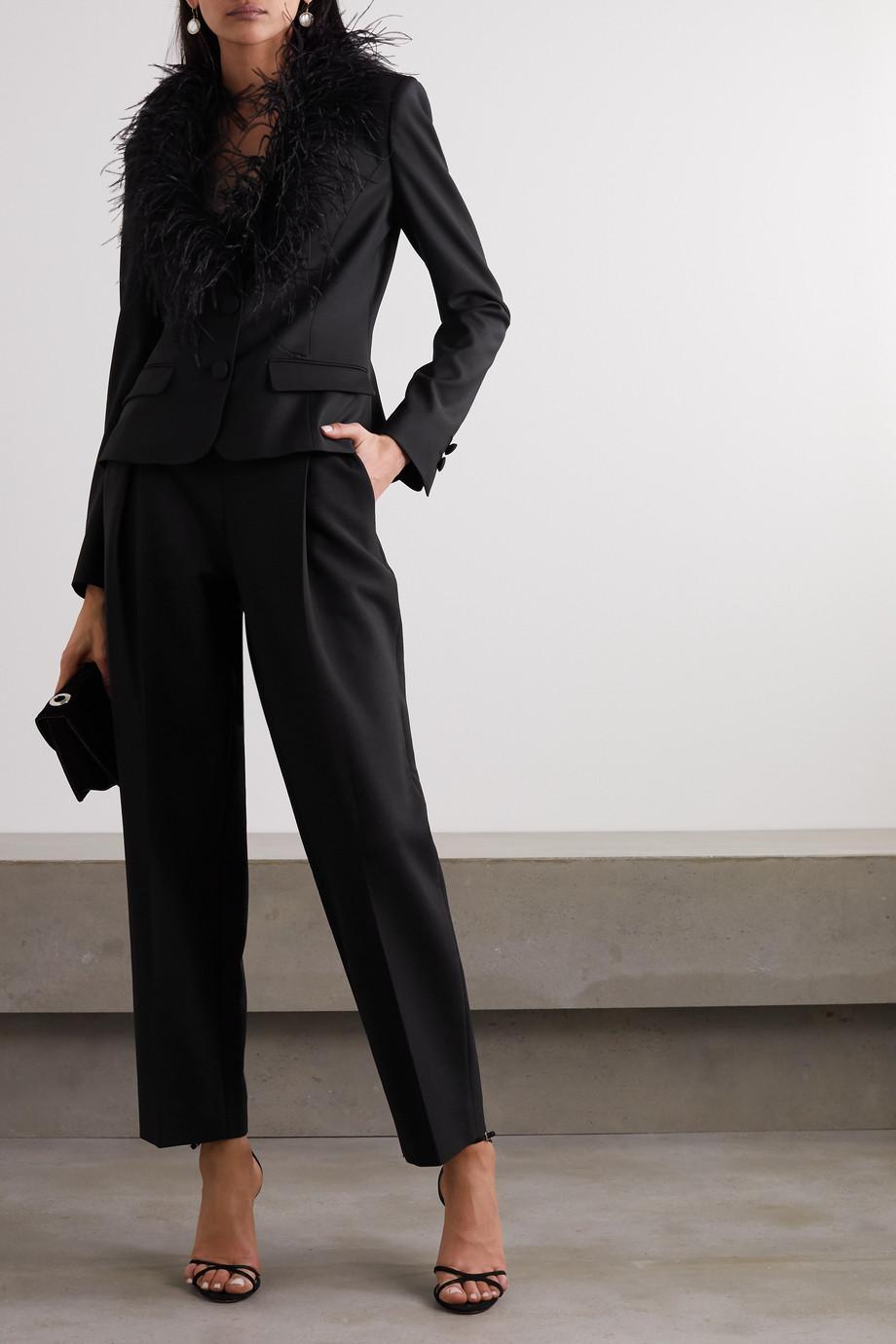 Oscar de la Renta Feather-trimmed wool-blend blazer