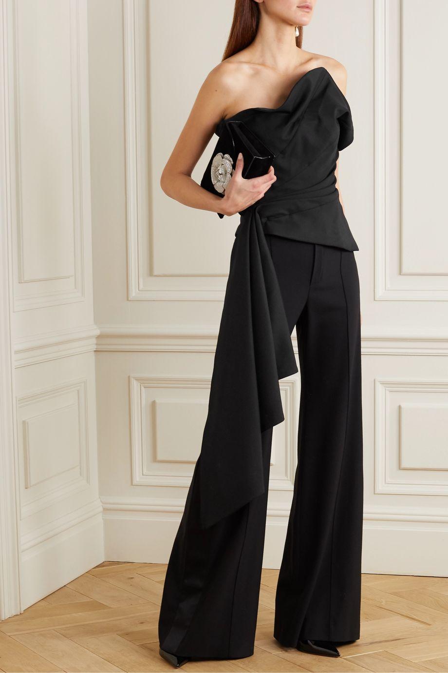 Oscar de la Renta Draped wool-blend twill bustier top