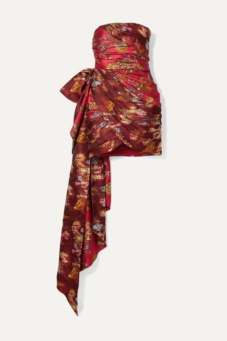Oscar de la Renta Strapless draped brocade mini dress