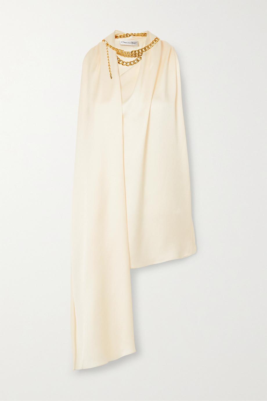 Oscar de la Renta Chain-embellished draped satin-crepe top