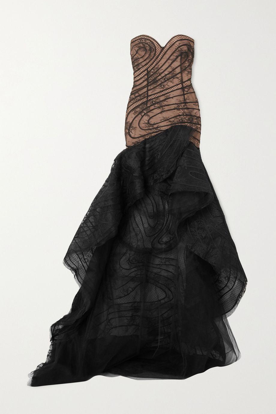 Oscar de la Renta Strapless asymmetric lace and flocked tulle gown