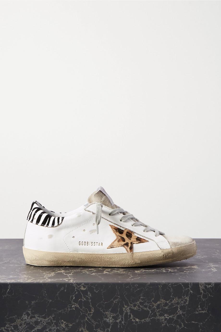 Golden Goose Superstar 仿旧豹纹小牛毛皮革绒面革运动鞋