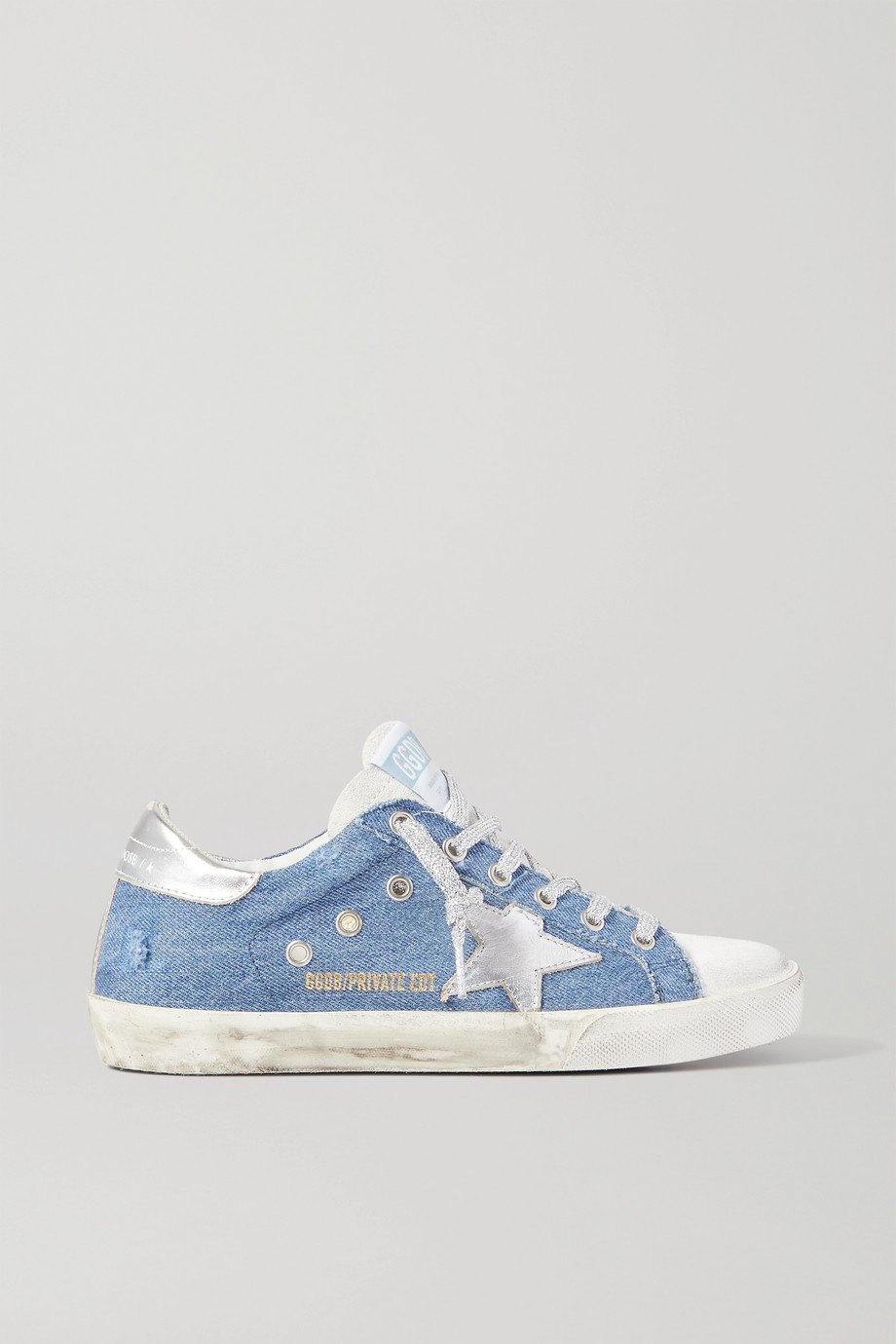 Golden Goose Superstar distressed denim and leather sneakers