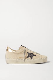 Golden Goose Hi Star distressed suede and leather sneakers