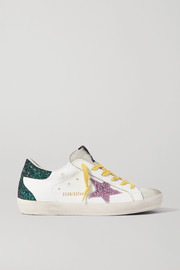 Golden Goose Superstar distressed glittered leather sneakers
