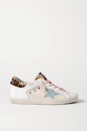 Golden Goose Superstar distressed leopard-print calf hair, leather and canvas sneakers